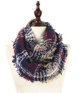 Plaid infinity scarf - 100% acrylic -Navy - €13,01 EUR