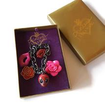 Princess Vera Wang Charm Bracelet Goth Skull Kisses Rhinestone Lips Roses - $24.70