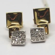 Ohrringe Anhänger Gold Gelb Weiss 18K, Drei Quadrate mit Zirkonia Kubische image 1