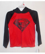 Superman Boys Long Sleeve Hoodie Shirt Red and ... - $9.13