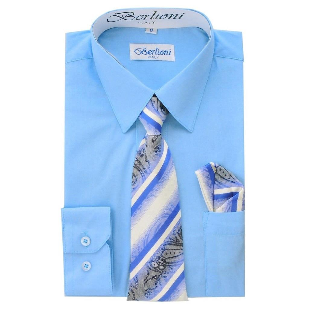 BERLIONI ITALY TODDLERS KIDS BOYS LONG SLEEVE DRESS SHIRT TIE & HANKY LIGHT BLUE