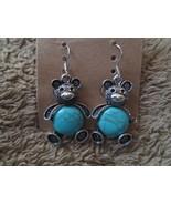Ladies Fashion Retro Turquoise Bear dangle Earrings Brand New - $3.50