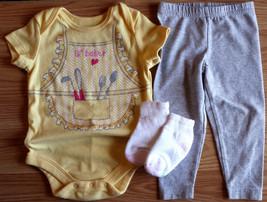 "Girl's Size 6-9 M Months 3 Pc Yellow ""Lili Baker"" Top, Gray Carter's Pants Socks - $11.50"
