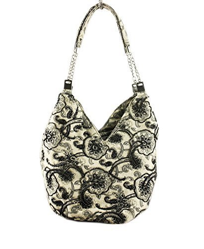 Casual Floral Beading Hobo Handbag Canvas Print Shoulder Bag