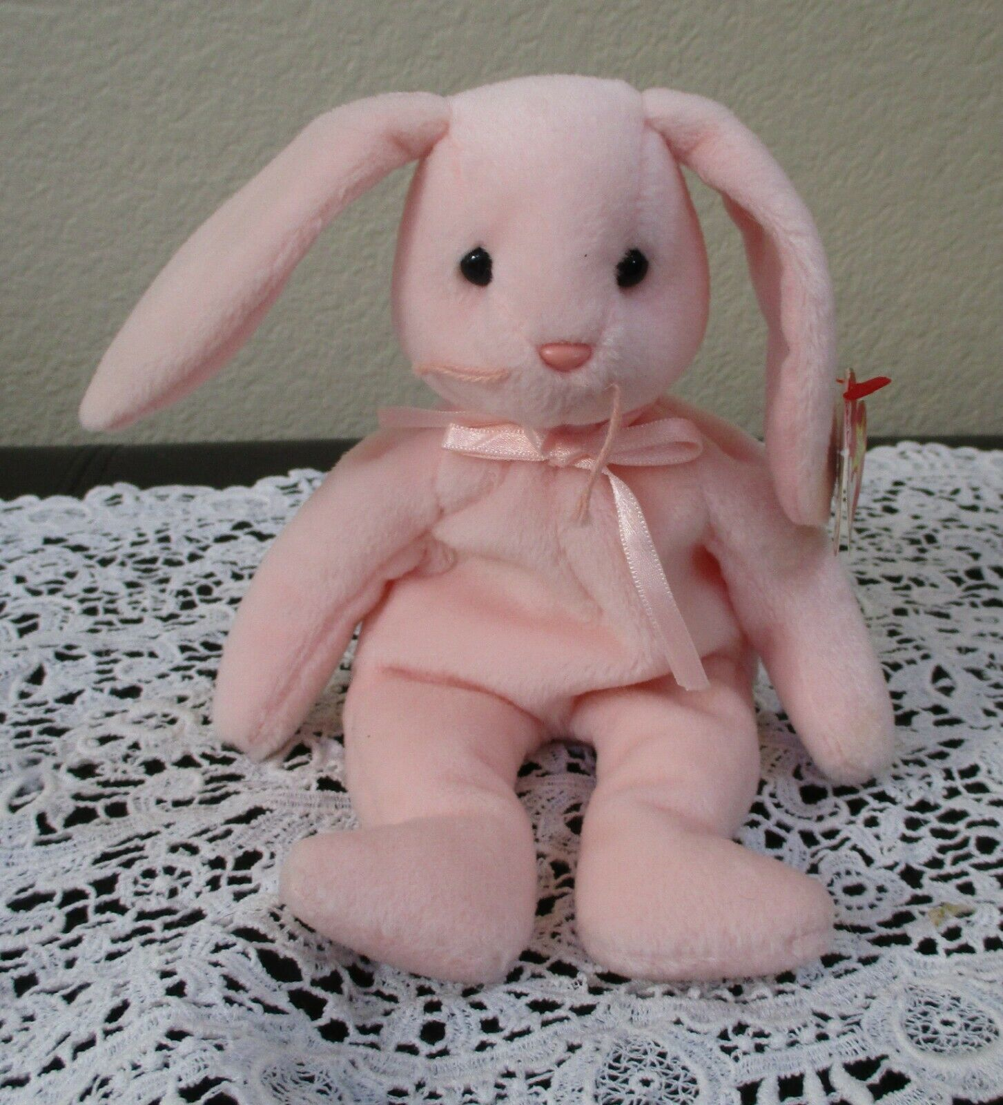 Primary image for Ty Beanie Baby Hoppity the Pink Bunny 2 Tag Errors USED