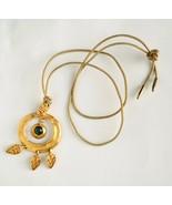 Vtg matte golden Etruscan revival necklace signed Georgiou 5 Mils 80s Dy... - $22.76