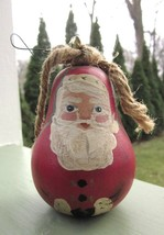 SOLID WOOD HAND PAINTED PEAR SHAPED SANTA CLAUS CHRISTMAS ORNAMENT Signe... - $5.70
