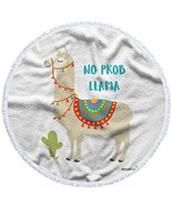 Moslion Llama Beach Towel Blanket Cute Animal Alpaca with Cactus Motivat... - $32.85