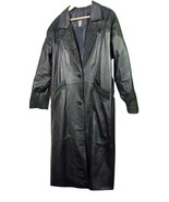Greg Bell Black Leather Coat Fancy Trim Accents Elegant Warm Soft (14K4B... - $98.99