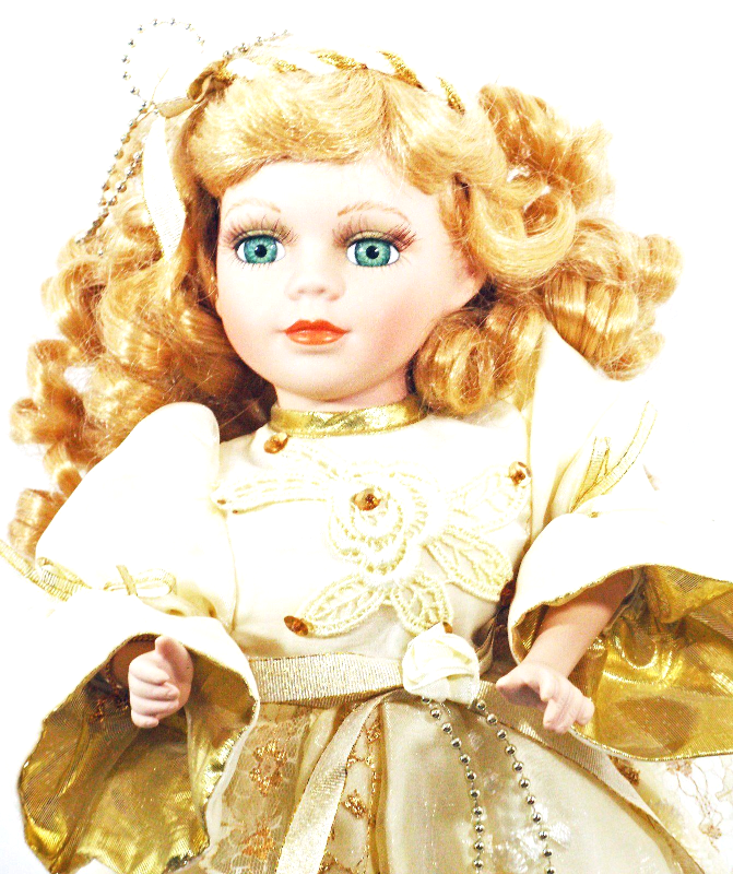 Doll Porcelain Hand Painted Blond Curls Gold Lacy Dress Blue Eyes (B16B28) - $39.59