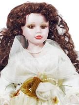 Doll Dark Hair Long Curls Brown Eyes Floral Dress (B16B28) - $29.99