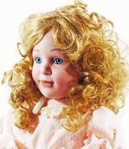 Doll Porcelain Honey Blond Curly Hair Lace on Dress  (B16B17) - $39.99