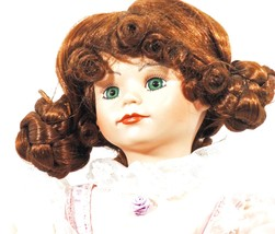 Doll Porcelain Hand Painted Red Curly Hair Pink Dress Green Eyes (B16B28) - $59.39