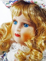 Doll Porcelain Golden Hair Blue Eyes Floral Hat & Dress (B16B17) - $49.49