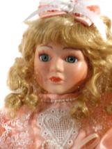 Doll Porcelain Blond Curly Hair Lace on Peach Dress Blue Eyes  (B16B17) - $39.99