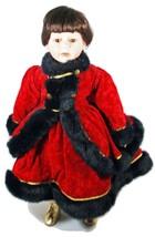 Doll Dark Hair Brown Eyes Red Coat Black Faux Fur (B16B28) - $59.39