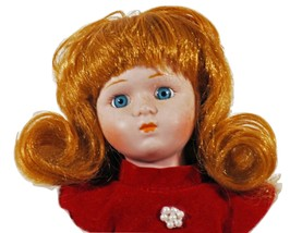 Mother's Day Gift Doll Porcelain Red Hair Blue Eyes Red Dress (B16B17) - $9.89