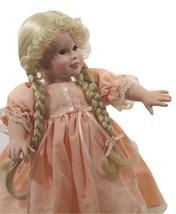 Doll Blond Braids Pink Salmon Dress Lace Edge Brown Eyes + Free Toy (B16B28) - $79.19