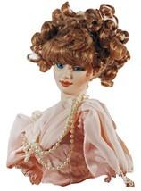 Doll Porcelain Red Dark Eyes Hair Intricate Pink Dress & Beads  (GB5) - $99.99