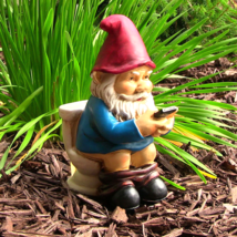 """Cody the Gnome Reading Phone on the Throne 9.5""""... - $34.90"""
