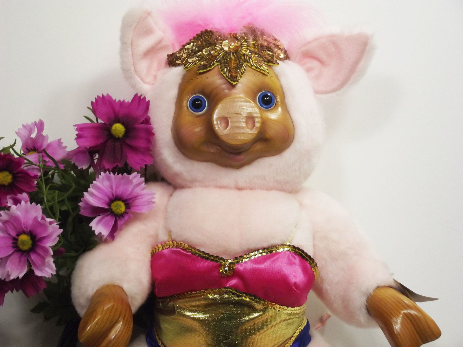 Primary image for Pig Robert Raike's Carved in Wood Violet Pink Pig Circus Collection Plush (G*)