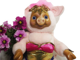Pig Robert Raike's Carved in Wood Violet Pink Pig Circus Collection Plus... - $98.99