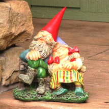 "Al and Anita on Bench Gnome Statue 8"" Tall by Sunnydaze Decor - $36.15"