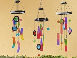 Set of 3 Geometric Shapes Design Iron and Painted Glass Windchimes NEW