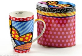 Romero Britto Heart Design Bone China Mug 13 oz in Colorful Gift Tin #334239 NEW