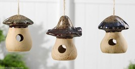 Set of 3 Ceramic Mushroom Design Birdhouses Rustic Tan & Brown Finish NEW