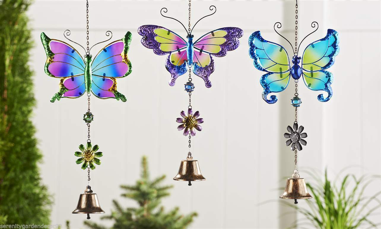 Set of 3 Butterfly Design Iron and Painted Glass Bell Chime NEW