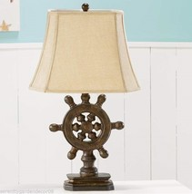 "26"" Ship Wheel Design Brown Polystone Table Lamp w Beige Polyester Lamp Shade"