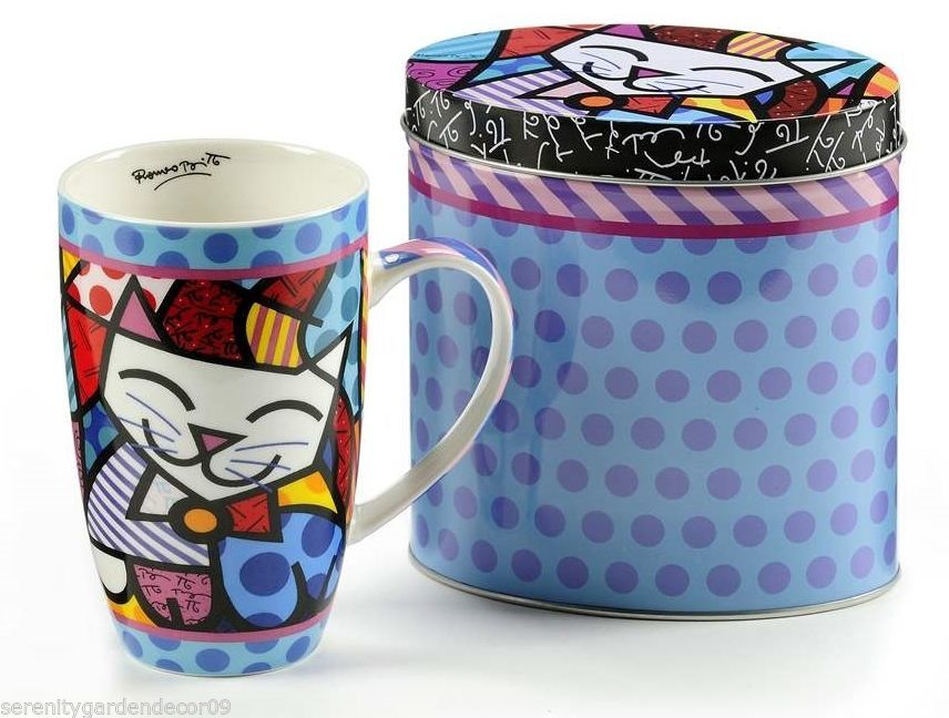 Romero Britto Cat Design Bone China Mug 13 oz in Colorful  Gift Tin #334240 NEW