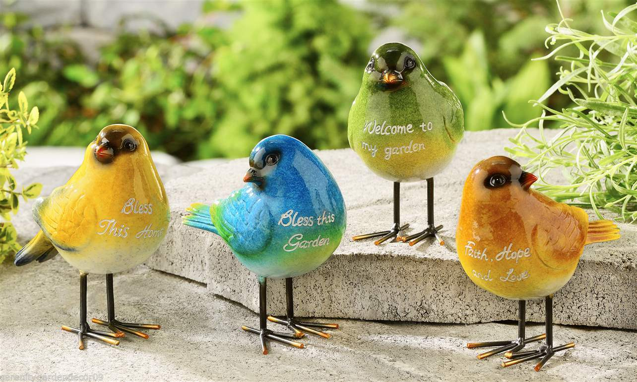 Set of 4 Standing Bird Figurines - with Sentiment -  Home Garden Decor NEW