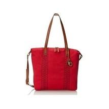 Lucky Brand Tote Purse Linen Handbag Shoulder Satchel Travel School Bag Red Hobo - $61.35