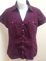 Express M Top Purple Button Down Cotton Stretch Puff Short Sleeve - $19.58