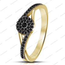 14k Yellow Gold Plated 925 Sterling Silver Black Sim Diamond Halo Wedding Ring - $58.56