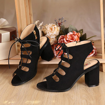 PS218 34 40 leather size pu black suede Graceful sandals Martin PxU0P1r