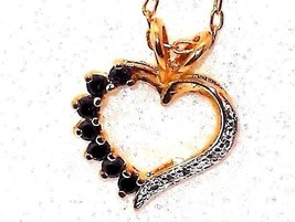 Blue Sapphire Heart Pendant natural with chain .25 carats VALENTINES DAY - $47.74