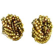 Vintage Golden Bead Cluster Wreath Clip-On Earrings Made in Japan image 4