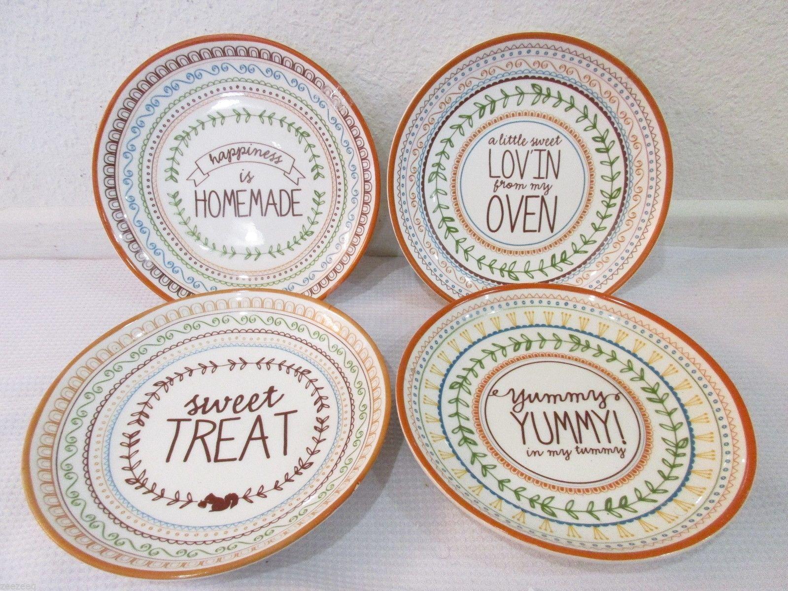 Thanksgiving Fall Desert Appetizer Bread Plates Set Of 4