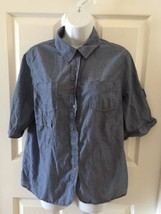 Vintage Tommy Hilfiger 90s Womens Blue Button Down L Blouse top Shirt De... - $13.96