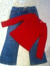 Girl-Lot of 2-Size 4-4T-Greendog sweater-red-Size 4-Place jeans - $14.25