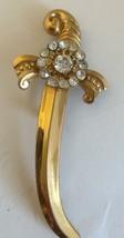 "Vintage Coro Signed Sword Pin Brooch Rhinestones Goldtone 3.25""  - $21.23"