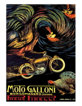Moto Galloni Motorcycle Vintage Advertising 13 x 10 inch Giclee CANVAS P... - $19.95