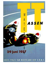 TT Assen 1957 Motorcycle Sidecar Racing 13 x 10 inch advert Giclee CANVA... - $19.95