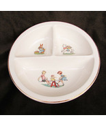Salem China divided baby dish Margery Daw See Saw design gold edge - $8.50