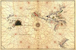 Portolan Map of the Western Hemisphere showing what will become the United State - $19.99+