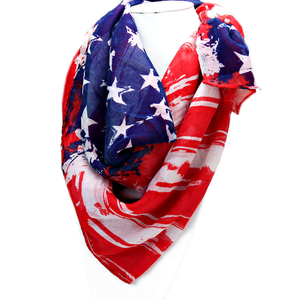 Women's Red, White & Blue American Flag Patriotic Spring Scarf