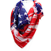 Women's Red, White & Blue American Flag Patriotic Spring Scarf  - €7,26 EUR